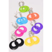 "Earrings Acrylic Silver Chain Circle Dangle/DZ Size-2.75""x 2"" Wide,2 Black,2 Yellow,2 Fuchsia,2 Blue,2 Purple,1 Lime,1 Orange,7 Color Asst,Earring Card &OPP Bag & UPC Code -"