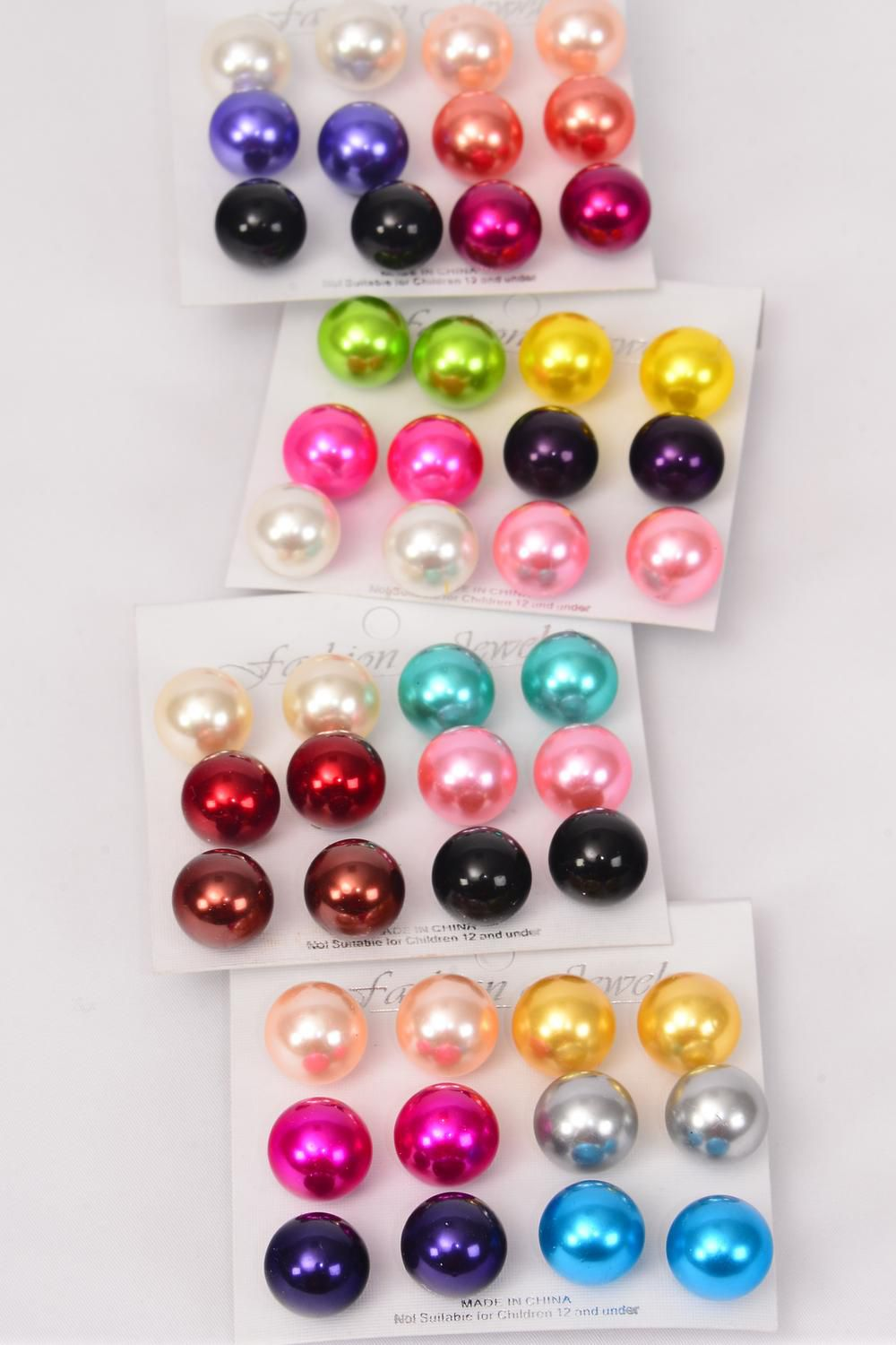 Earrings Multi 6 Pair 14 mm ABS Pearls/DZ **Multi** Post,Size-14 mm,3 of each Color Asst,,Earring Card & OPP Bag & UPC Code