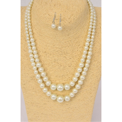 "Necklace Sets Graduated From 16mm Glass Pearls 22inch Long Cream Pearls/DZ **Cream Pearls** 20"" Long, Hang Tag & Opp Bag & UPC Code-"