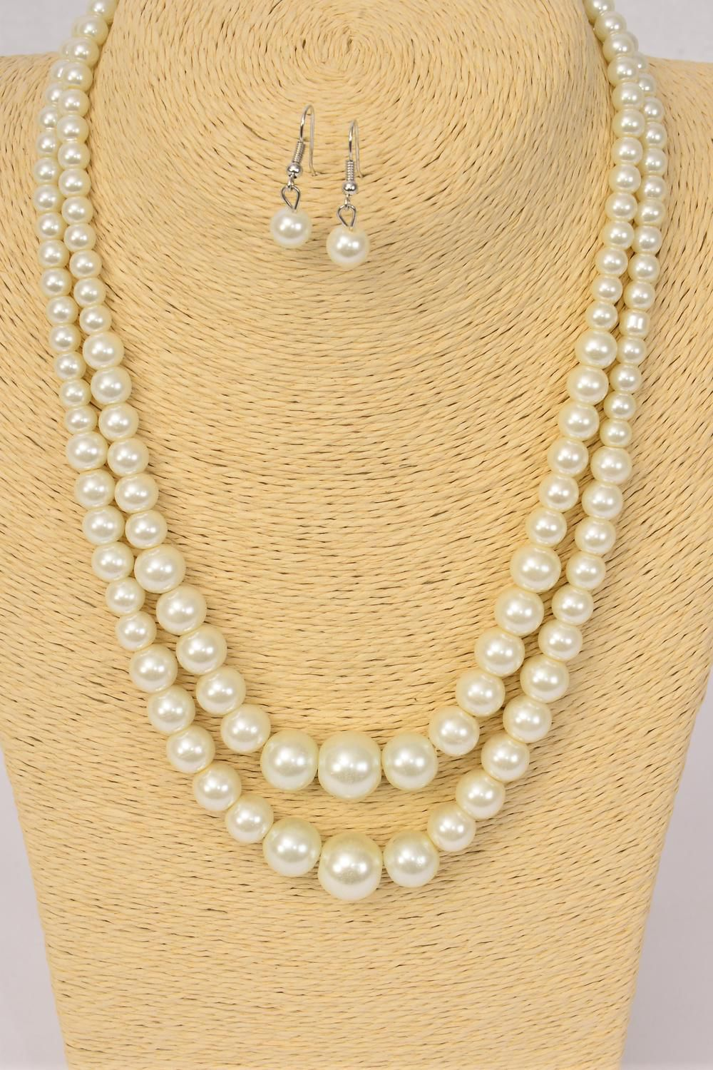 "Necklace Sets Graduated From 14 mm Glass Pearls Cream Pearl/DZ **Cream Pearl** 20"" Long, Hang Tag & Opp Bag & UPC Code"