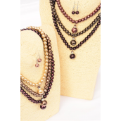 "Necklace Sets 10 mm Glass Pearl W Rhinestone Bezel & 16 mm Large Pearl Drop Brown tone Mix/DZ **Brown tone Mix** 18"" Long,2 of each Color Asst,Hang Tag & Opp bag & UPC Code -"