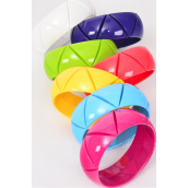 "Bangle Acrylic Carve Solid Multi/DZ **Hinge** Size-2.75 x 1"" Dia Wide,2 Purple,2 Yellow,2 Blue,2 Fuchsia,2 White,1 Coral,1 Lime, of each Color Asst,hang Tag & Opp Bag & UPC Code"