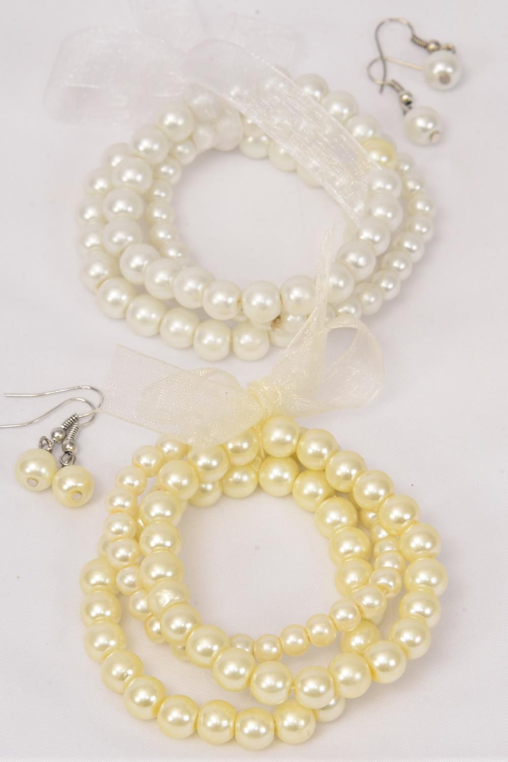 Bracelet & Earring Sets Ribbon 3 string Glass Pearls Cream & White Mix/DZ **Stretch** 8 mm & 10 mm Glass Pearls Mix,6 White,6 Cream Mix,Hang Tag & Opp Bag & UPC Code -