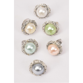 "Rings Large Pearl Clear Rhinestones all Around/DZ **Adjustable** Face Size-1"" Wide,2 of each Color Asst,1 Dz Velvet Ring Display Window Box,W OPP bag & UPC Code -"