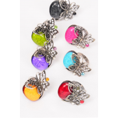 "Rings Butterfly Marble & Rhinestones Antique Finish/DZ **Adjustable** Face Size-1.5""x 1.25"" Wide,2 Black,2 Red,2 Fuchsia,2 Turquoise,2 Purple,1 Lime,1 Yellow,7 Color Asst"