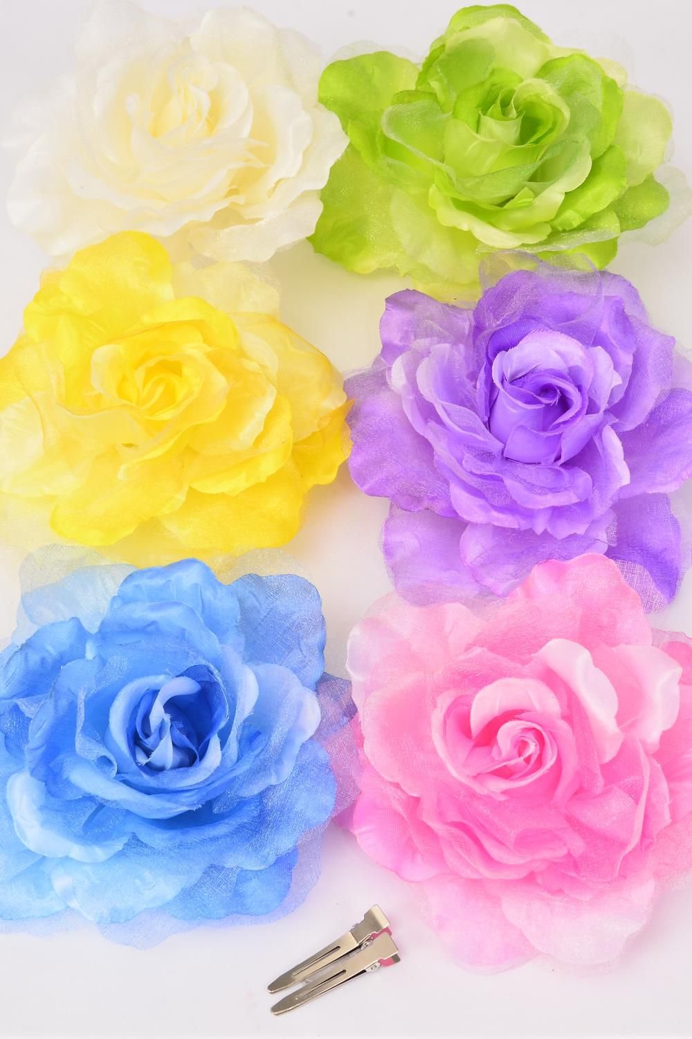 "Silk Flower Jumbo Pastel Tea Rose & Chiffon Mix Alligator Clip/DZ **Pastel** Size-6"" Wide,Alligator Clip & Brooch,2 of each Color Asst,Display Card & UPC Code,W Clear Box -"