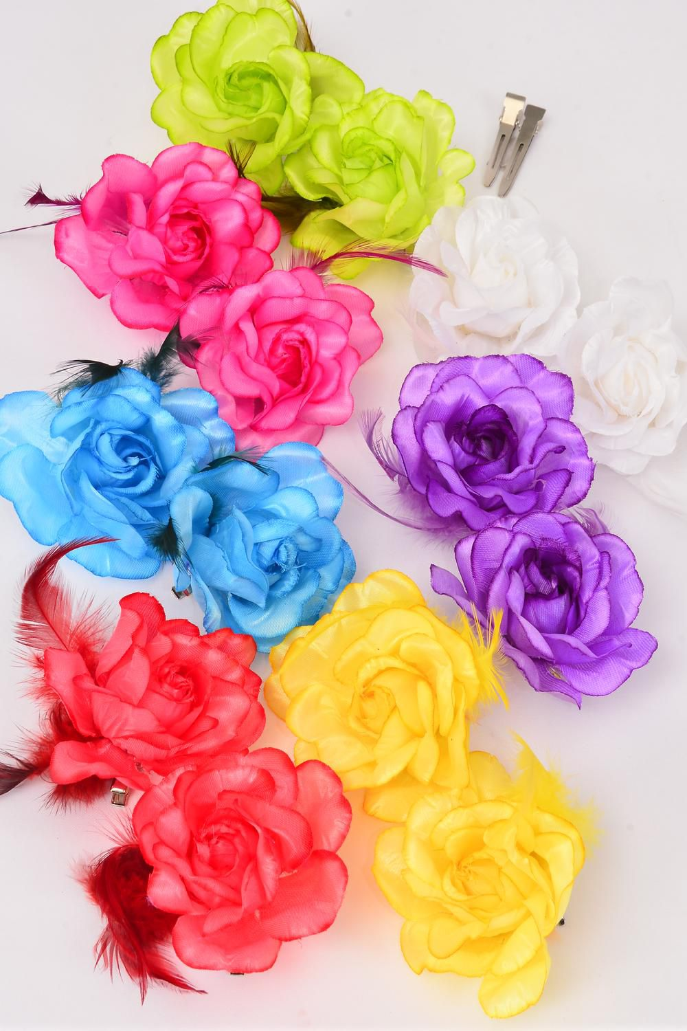 "Flowers 24 pcs Rose & Feathers Citrus Alligator Clip /DZ **Citrus** Alligator Clip,Flower Size-2.75"" Wide,2 Fuchsia,2 Purple,2 White,2 Yellow,1 Red,1 Blue,1 Orange,1 Lime,8 Color Asst"