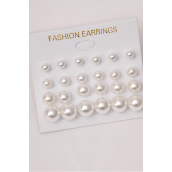 Earrings 12 pair White ABS Pearls Mix Sizes/dz **White Pearls** Size-2,4,6,8 mm Mix,12 pair per Card,12 Card= Dozen,Earring card & Opp Bag & UPC Code