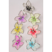 "Rings Flower Pastel Silver Trime/DZ **Adjustable** Flower Size-1.75"" Wide,2 Fuchsia,2 Purple,2 Yellow,2 Blue,2 Black,1 Red,1 Lime,7 Color Mix"