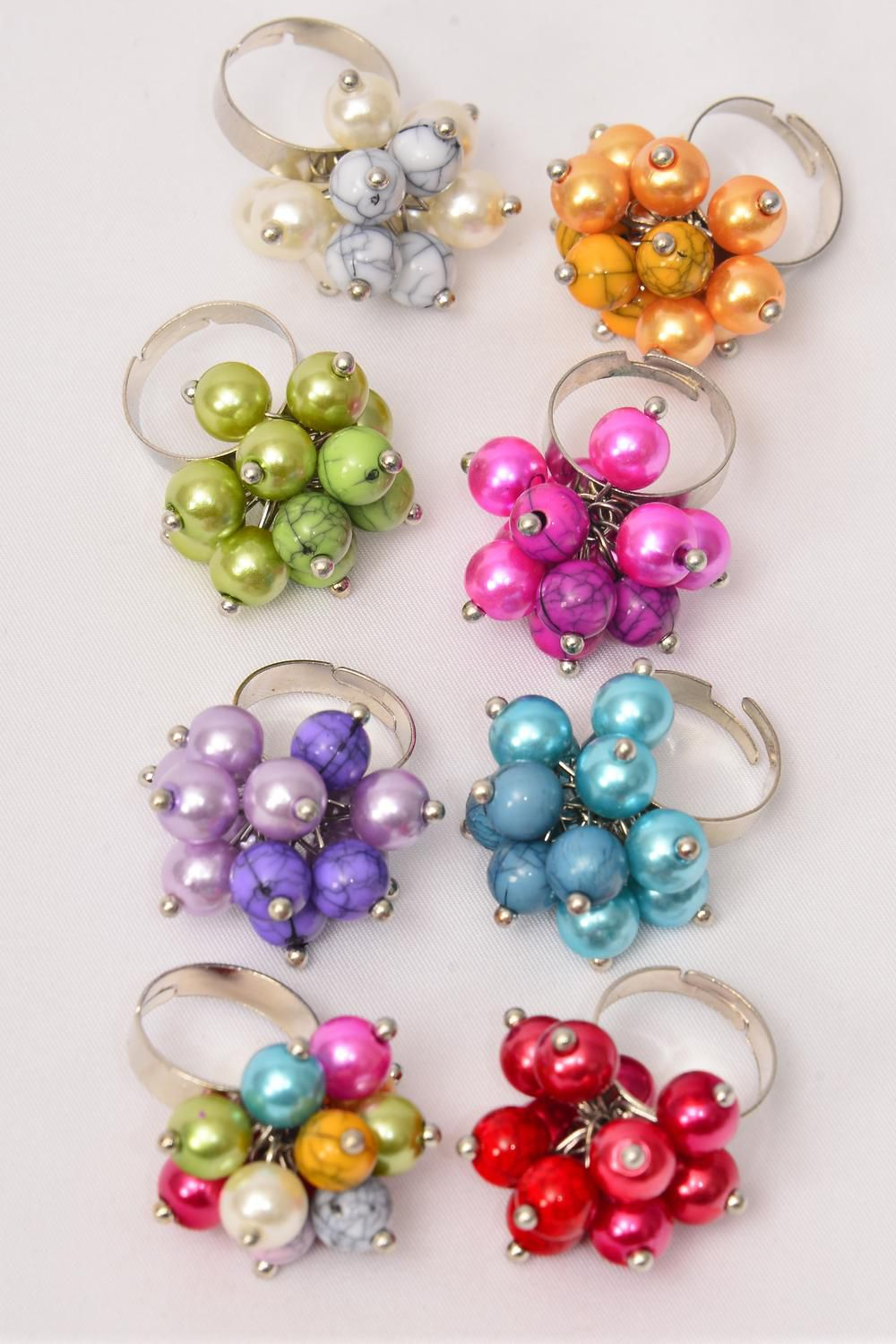 "Rings 8 mm Pearl & Marble Balls Mix/DZ **Adjustable** Width 1.25"" Wide,2 REd,2 Blue,2 Lime,2 Multi,1 White,1 Fuchsia,1 Lavender,1 Yellow,8 Color Asst"