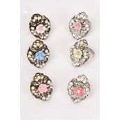 "Rings Antique Poly Flower W Rhinestones/DZ **Adjustable** Face Size-1.25""x 1"" Wide,6 Gold & 6 Silver Mix,each has 6 Color Mix,1Dz Velvet Ring Display Window Box,OPP bag & UPC -"