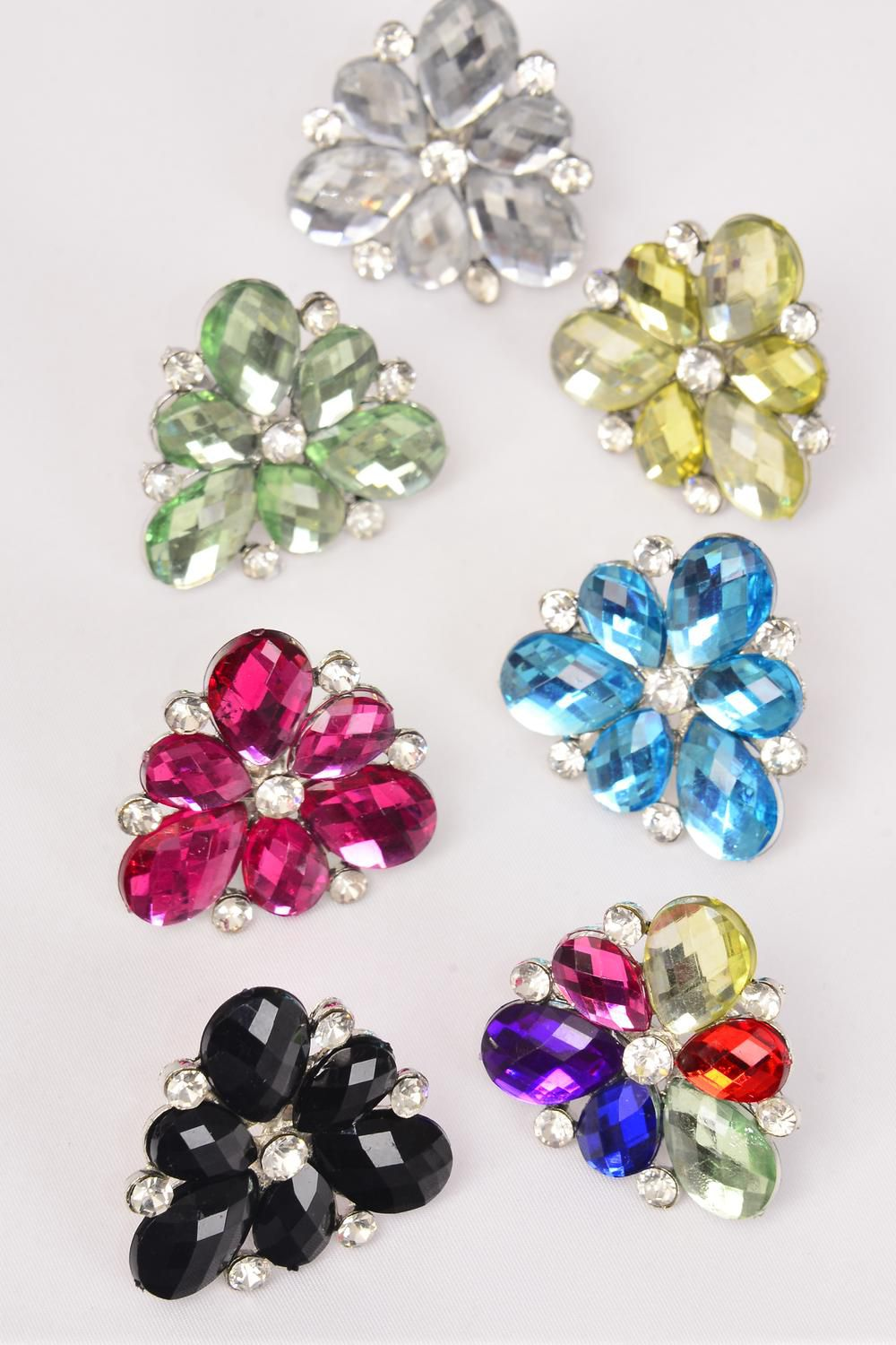 "Rings Acrylic Flower Color Rhinestones/DZ **Adjustable** Flower-1.5"" Wide,2 Black,2 Clear,2 Blue,2 Fuchsia,2 Multi,1 Lime,1 Yellow,7 Color Asst"