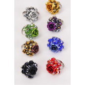 "Rings Victorian Style Glass Crystal Rose/DZ **Adjustable** Cluster Size-1"" Wide,2 Black,2 Brown,2 Gold,2 Silver,1 Red,1 Purple,1 Green,1 Blue,8 Color Asst"
