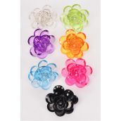"Rings Acrylic Large Cluster Flower/DZ **Adjustable** Flower Size-2"" Wide,2 Black,2 Fuchsia,2 Blue,2 Clear,2 Purple,1 Lime,1 Orange,7 Color Asst"