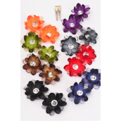 "Flowers 24 pcs Alligator Clip Triple Layered Flowers Dark Multi/DZ **Dark Multi** Flower Size-2.5"" Wide,2 Black,2 Brown,2 Burgundy,2 Orange,1 Navy,2 Purple,1 Gray,1 Olive,8 Color Asst"