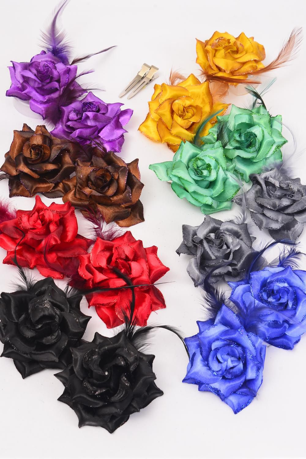 "Flowers 24 pcs Glitter Rose & Feathers Dark Multi Alligator Clip /DZ **Dark Multi** Alligator Clip,Size-2.75"" Wide,2 Brown,2 Purple,2 Red,2 Gold,1 Blue,1 Black,1 Gray,1 Green,8 Color Asst"