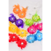 "Flowers 24 pcs Feather & Pearl Strings Alligator Clip Multi/DZ **Multi** Size-2.75"" Wide,Alligator Clip,2 Red,2 Yellow,2 Purple,2 White,1 Lime,1 Orange,1 Blue,1 Fuchsia,8 Color Asst"