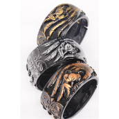 "Bangle Acrylic Hinge Hand Flowers Antique Finish/DZ **Hinge** Size-2.75""x1.5"" Dia Wide,4 Copper,4 Pewter,4 Brass,3 Color Asst,hang tag & OPP bag & UPC Code"