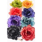 """Silk Flower Tea Rose Large Metallic Fabric Alligator Clip/DZ **Dark Multi**  Size-6"""" Wide,2 Black,2 Burgundy,2 Gold,2 Teal Green,1 Navy,1 Purple,1 Lime,1 Red, 8 Color Ast,Alligator Clip & Brooch,8 Color Asst"""