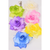 "Silk Flower 2 Tone Rose Pastel Glitters Al **Pastel** Size-4.25"" Wide,Alligator Clip & Brooch,2 of each Color Asst,Display Card & UPC Code,W Clear Box -"
