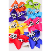 "Hair Bow Cheer Type Bow Soccer Ball Print Grosgrain Bowtie Multi/DZ **Multi** Alligator Clip,Bow-7""x 6"" Wide,2 Red,2 Royal,2 Yellow,2 Fuchsia,1 Blue,1 Purple,1 Orange,1 Lime,8 Color Asst,W Clear Strip & UPC Code"
