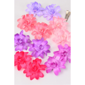 "Flowers 24 pcs Alligator Clip Purple & Pink Mix/DZ **Purple & Pink Mix** Flower Size-2.75"" Wide,2 of each Color Asst,2 pcs per card,12 card=Dozen, Display Card UPC Code, Clear Box"