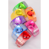 "Bangles Acrylic Hinge Heart Stone Multi/DZ **Hinge** Size-2.75""x 1.5'',2 Red,2 Yellow,2 Blue,2 Green,2 Orange,1 Fuchsia,1 Purple,7 Color Asst,Hang Tag  & OPP bag & UPC Code -"