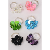 "Rings Sequin Charms & Glass Crystal Mix/DZ **Adjustable** Width 1.25"" Wide,2 of each Color Asst,Velvet Ring Display Box & OPP Bag & UPC Code -"