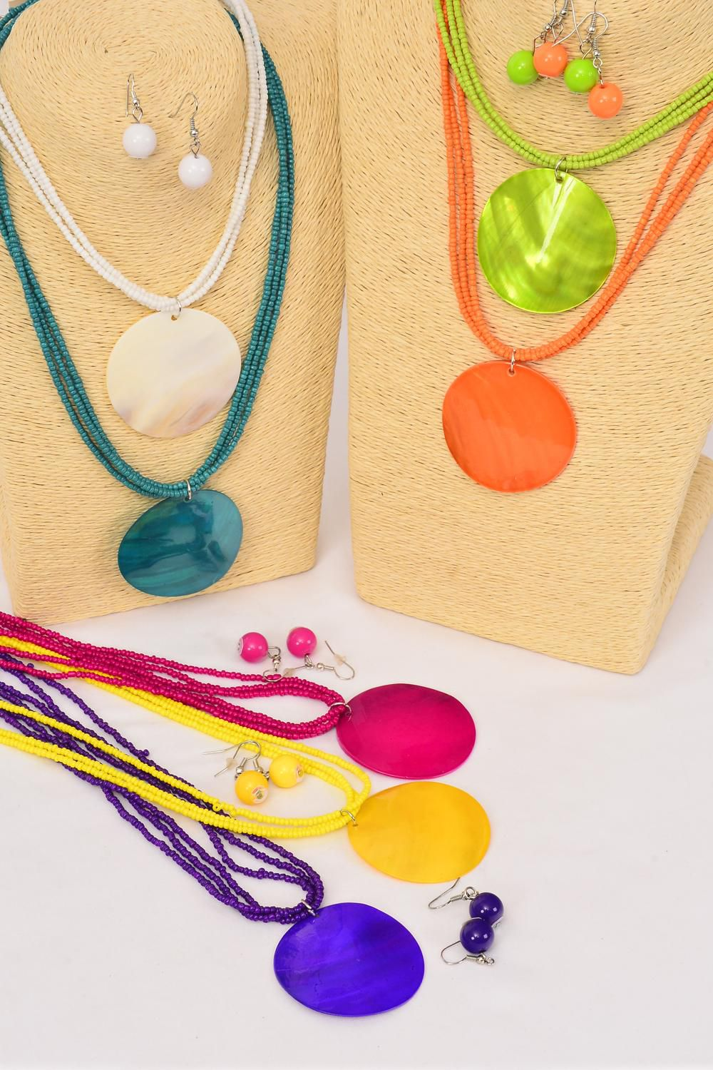 "Necklace Sets Seashell Round Pendant Indian Beads Citrus/DZ **Citrus** 18"" Long,Pendant Size-2"" Wide,2 White,2 Teal,2 Fuchsia,2 Purple,2 Yellow,1 Orange,1 Lime,7 Color Mix,Hang Tag & -"