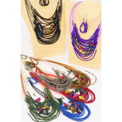 "Necklace Sets Indian Beads W Coconut Shell Blocks/DZ 20"" Long,2 Black,2 Silver,2 Bronze,2 Burgundy,2 Navy,1 Purple,1 Olive,7 Color Asst, Hang Tag & Opp bag & UPC Code -"