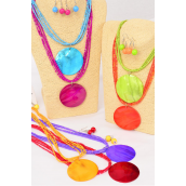 "Necklace Sets Seashell Pendant Indian Beads/DZ **Citrus** 18"" Long,Pendant Size-2.5"" Wide,2 Yellow,2 Blue,2 Fuchsia,2 Purple,2 Red,1 Orange,1 Lime,7 Color Mix,Hang Tag & OPP bag & UPC Code"