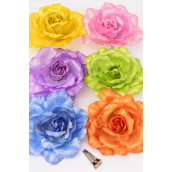 "Silk Flower Large Metallic Fabric W Alligator Clip Pastel/DZ **Pastel** Size-6"" Wide,Alligator Clip & Brooch,2 of each Color Asst,Display Card & UPC Code,W Clear Box -"
