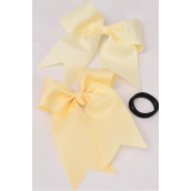 "Hair Bow Extra Jumbo Long Tail Beige Elastic Beige Grosgrain Bow-tie Beige/DZ **Beige** Elastic,Size-6""x 6.5"" Wide,6 of each Color Asst,Clip Strip & UPC Code"