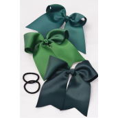 "Hair Bow Extra Jumbo Long Tail Hunter Green Elastic Grosgrain Bow-tie/DZ **Hunter Green Mix** Elastic,Size-6.5""x 6"" Wide,4 of each Color Asst,Clip Strip & UPC Code"
