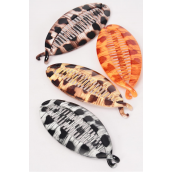 "Fish Comb Acrylic Leopard/DZ Size-5.5""x 2.5"",3 of each Color Ast,Hang Tag & Individual OPP Bag & UPC Code"