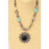 "Necklace Antique Aztec Semiprecious Stone Pendant/PC 18"" Long Extension Chain,Pendant Size-2.5"" Wide,,Hang tag & Opp Bag & UPC Code -"