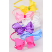 "Headband Horseshoe Jumbo Grosgrain Bow-tie Pastel Mix/DZ **Pastel** Bow Size-6"" x 5"" Wide,2 of each Color Asst,Hang Tag & UPC Code,W Clear Box"