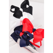 "Headband Horseshoe Jumbo Grosgrain Bow-tie Red White Black Navy Mix/DZ Bow Size-6""x 5"" Wide,3 Red 3 White 3 Black 3 Navy Mix,Hang tag & UPC Code,Clear Box"