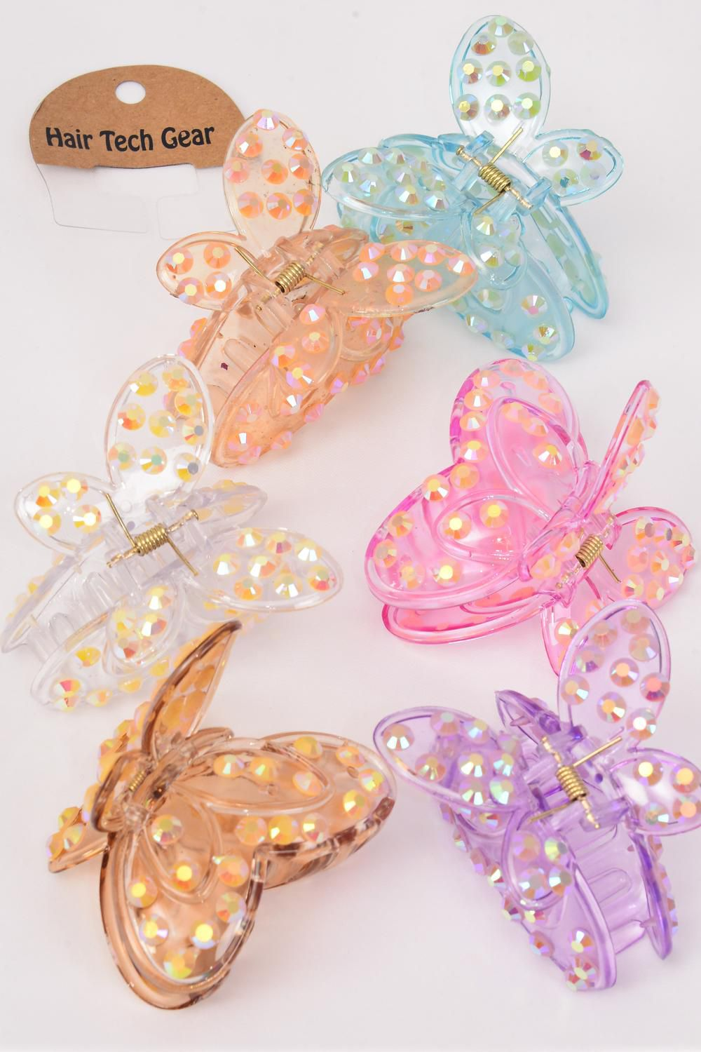 "Jaw Clip Acrylic Butterfly Transparent W AB Stones/DZ Butterfly Size-3.5""x 2.75"" Wide,2 of each Color Asst,Hang Tag & OPP Bag & UPC Code -"