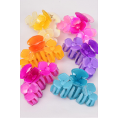 "Jaw Clip Acrylic 3 Flowers Aloha/DZ Size-3.5""x 2.5"" Wide,2 Beige,2 Fuchsia,2 Pink,2 Blue,2 Orange,2 Purple,6 Color Asst,Hang Tag & OPP Bag & UPC Code -"
