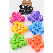 "Jaw Clip Acrylic Flower Clear Stones/DZ Size-3.5""x 2.5"" Wide,2 Black 2 Fuchsia 2 Blue 2 Yellow 2 Purple 1 Orange 1 Lime Mix,7 Color Asst,Hang Tag & OPP Bag & UPC Code -"