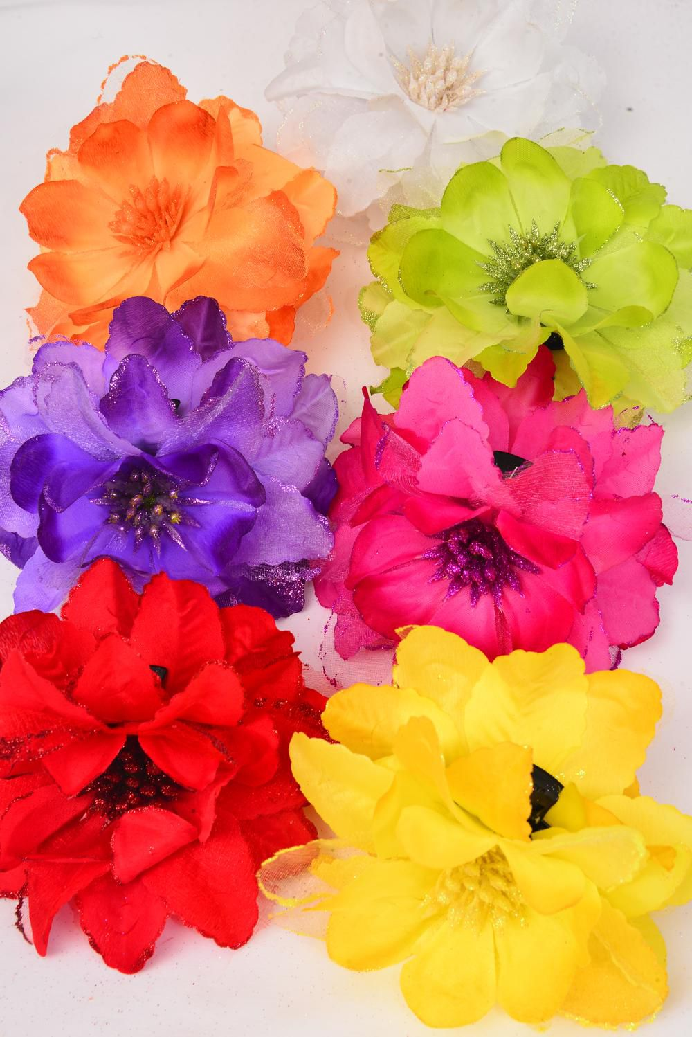 "Jaw Clip Flower Chiffon Glitter Trime/DZ Flower Size-5.5"" Wide,Jaw Clip-3.5"" Wide,2 Red,2 Yellow,2 Purple,2 Fuchsia,2 White,1 Orange,1 Lime,7 Color Mix,Hang Tag & UPC Code,W Clear Box"