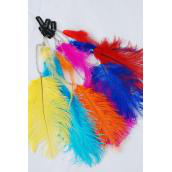 "Feather Extension Silver Chain Bright Color Feathers/DZ match 02738 Size-10"" Long,2 of each Color Asst,Display Card & OPP bag & UPC Code -"