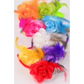 "Headband Horseshoe Rose & Feathers/DZ Flower Size-4.5"" Wide,2 White,2 Orange,2 Purple,2 Fuchsia,1 Red,1 Yellow,1 Blue,1 Lime,8 Color Asst,hang tag & UPC Code,W Clear Box -"