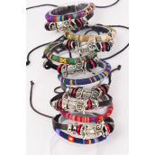Bracelet Leather Owl & Macrame Wrap Mix Adjustable/DZ **Unisex** Adjustable,2 of each Color Mix,Hang tag & OPP Bag & UPC Code