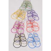 "Earrings 6 pair Metal Color Loop Size mix gold & Silver Mix/Dz **Post** Size-0.75"" 1"" 1.25"" 1.5"" 1.75"" 2"" 6 Size Mix,2 Black,2 Purple,2 Fuchsia,2 Yellow,2 Blue,1 Ora,1 Green,7 Colors Mix & 6 Gold & 6 Silver Asst"