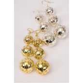 "Earrings Metal Filigree Ball/DZ **Fish Hook** Size-2.5""x 1"" Wide,14 mm 12 mm 10 mm Graduated,6 Gold & 6 Silver Mix,Earring Card & OPP bag & UPC code -"