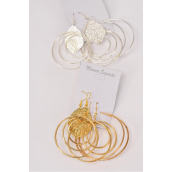 "Earrings Metal 3 Pair Mix Design/DZ Hoop Size-2.25"" Wide,Circle Size-1.75"" Wide,6 Gold & 6 Silver Mix,Earring Card & OPP Bag & UPC Code,3 pair per card,12 Card = Dozen -"