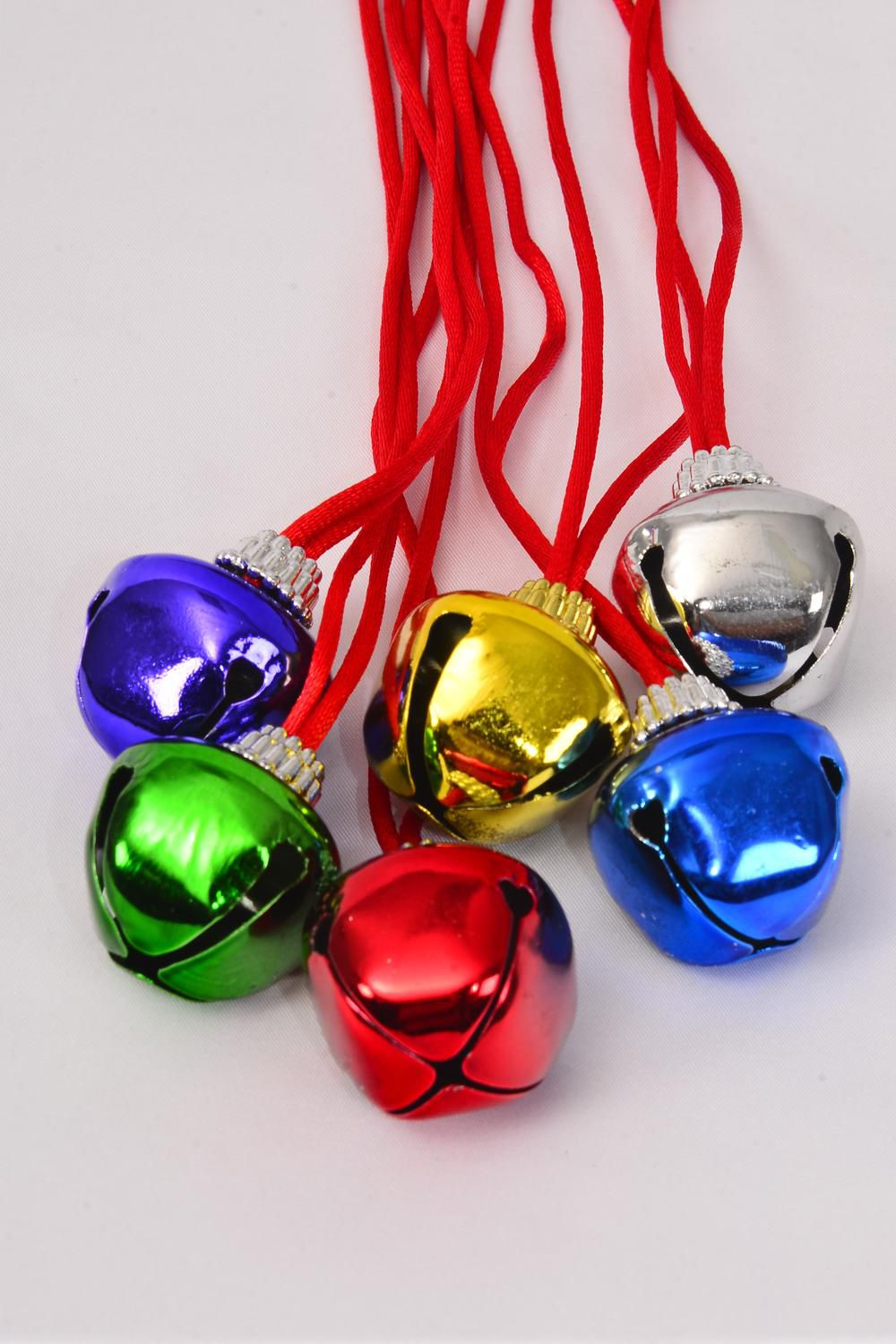 "Jingle Bell Necklace Color Asst/DZ Bell Size-3.5 cm Wide,36"" Long,2 of each Color Asst,hang tag & OPP bag & UPC Code -"