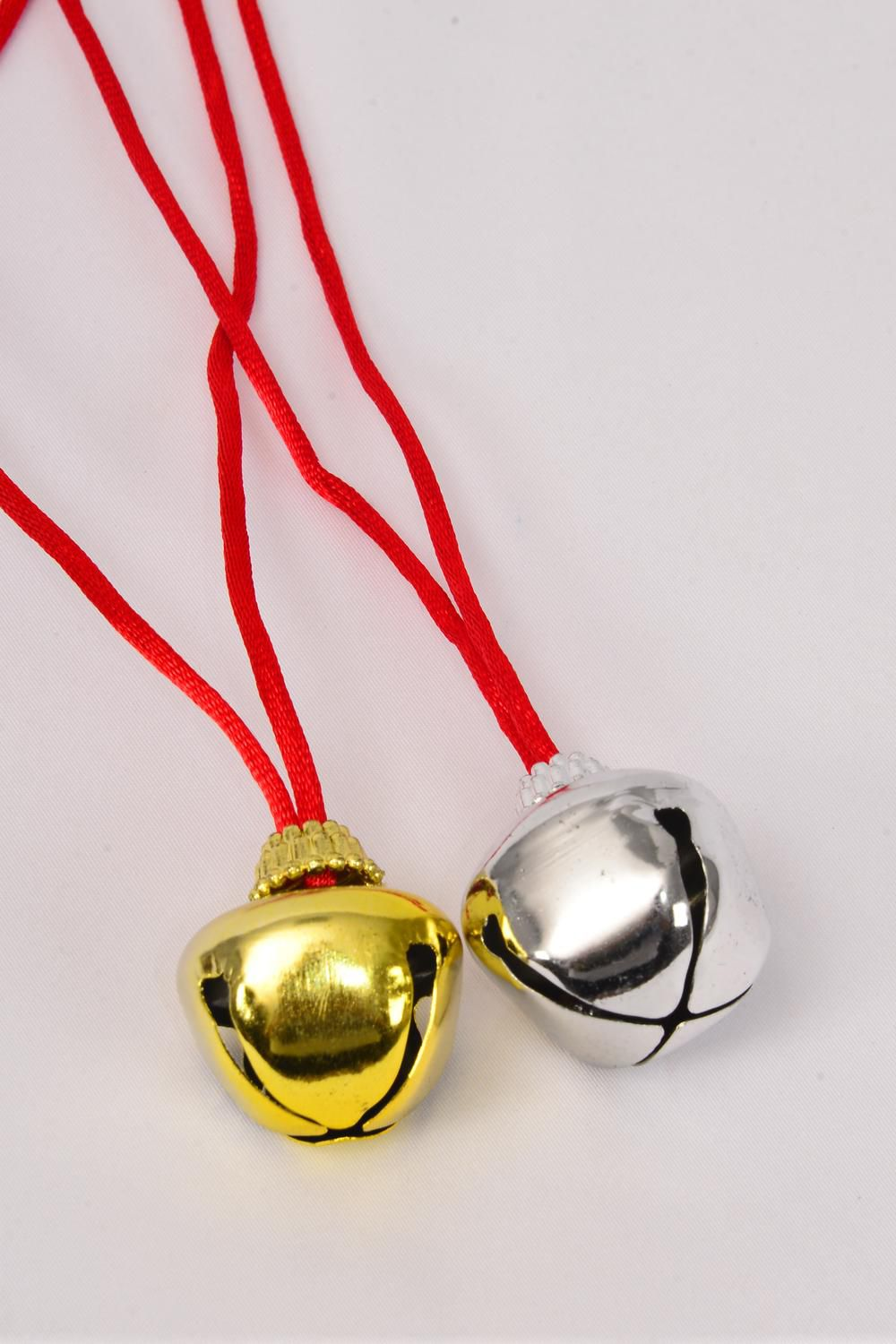 "Jingle Bell Necklace Gold & Silver Mix/DZ **Gold & Silver** Bell Size-3.5 cm,36"" Long,6 Gold & 6 Silver Asst,Hang tag & OPP Bag & UPC Code"